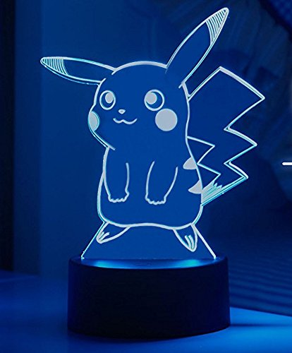 (Pokemon Pikachu 3D Night Light - Pokemon Gifts - 3D Led Lamp - Acrylic Lamp - 3D Pokemon Pikachu - Optical Illusion Led)