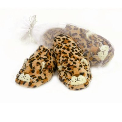 Warm Whiskers Leopard Slippers, Brown/Black/White, Medium/Large