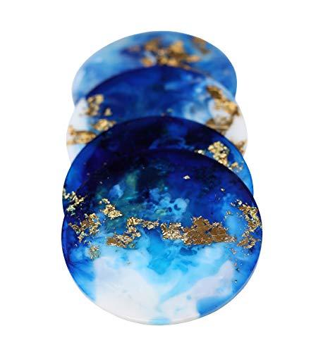 Blue Coasters For Drinks Set of 4 - Unique Coaster Sets - Resin Made Homewarming Gift (Drink Coaster Unique Sets)