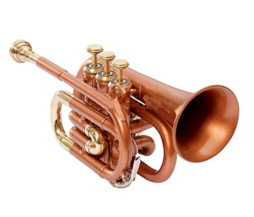 POCKET TRUMPET Bb PITCH COPPER WITH FREE HARD CASE AND MP by NASIR ALI