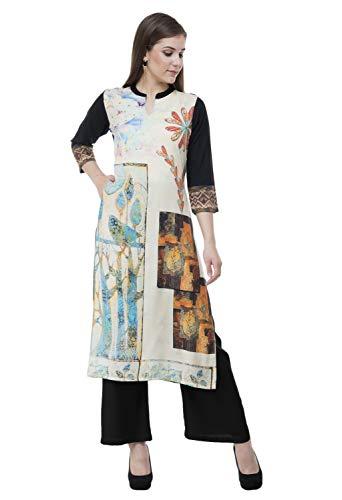 "Lagi Designer Rayon Straight Kurti for Women Printed Tunic Top Mandarin Collar ¾ th Sleeve Dress"" (S-38)"