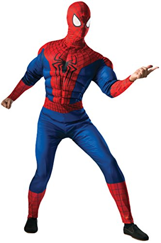 Rubie's Costume Men's Marvel Universe, The Amazing Spider-man 2 Deluxe Muscle-chest Spider-man Costume, Multicolor, One Size