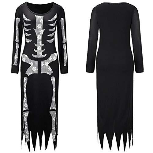 Skeleton attillata Halloween Dress Festival Women Cosplay Fashion Slim Ghost Adeshop Chic Irregolare Costume Girocollo Straight Dress gonna Party Black Horror wpYSqCCZ