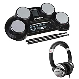 Alesis CompactKit 4 4-Pad Portable Tabletop Electronic Drum Kit with Drumsticks & Built-In Learning Tools + DJ On-Ear…