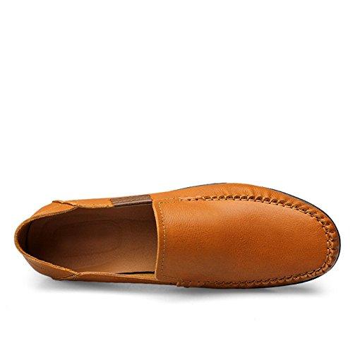 Ponerse Conducción Mocasines Comodidad Shenn Hombre Marrón Zapatos Cuero Coche 1fWwwtT5q