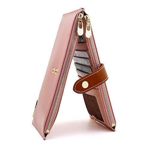 ANDOILT Women's Genuine Leather Wallet RFID Blocking Credit Card Holder Zipper Purse Cell Phone Handbag Pink