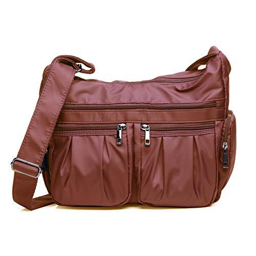 Crossbody Bags for Women, Multi Pocket Shoulder Bag Waterproof Nylon Travel Purses and Handbags (8981- Brick red)