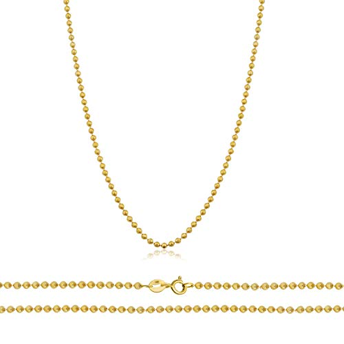 Orostar 14K Yellow Gold 1mm Diamond Cut Bead Chain Necklace, 16