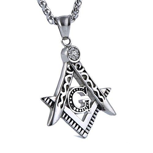 HZMAN Mens Cubic Zirconia Freemason Symbol Masonic Stainless Steel Pendant Necklace 24 inch Chain (St Jude Logo)