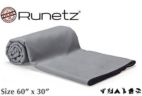 (Runetz - Microfiber Towels XL - Super Absorbent & Quick Drying (Sport, Gym, Camp, Car Care, Travel) - Extra Large - Gray)