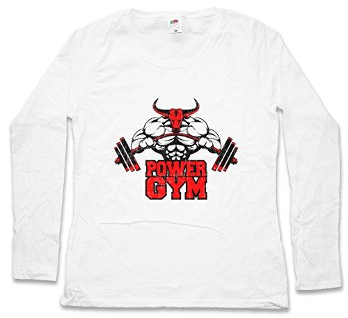 POWER GYM BULL DAMEN GIRLIE LANGARM T-SHIRT – – Fitness Sports Bulle Stier Muscles Muskeln Body Building Heavy Iron Training Hardcore Pumping Größen XS – 2XL