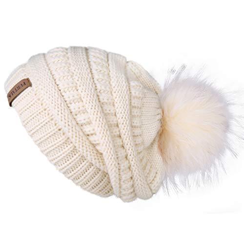 FURTALK Womens Winter Knit Beanie Hat Skull Cap Slouchy Beanie Pom Pom Hats for - Crocheted Beige Hat