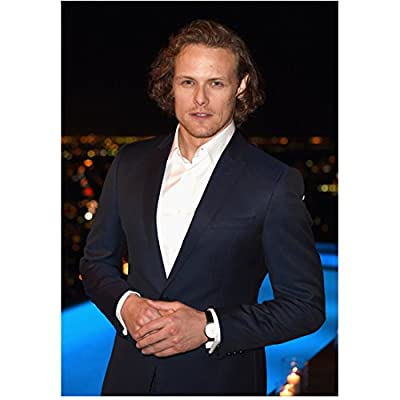 Sam Heughan 8 Inch x10 Inch Photograph Outlander A Princess for Christmas First Light Next to Pool Pose 2 kn