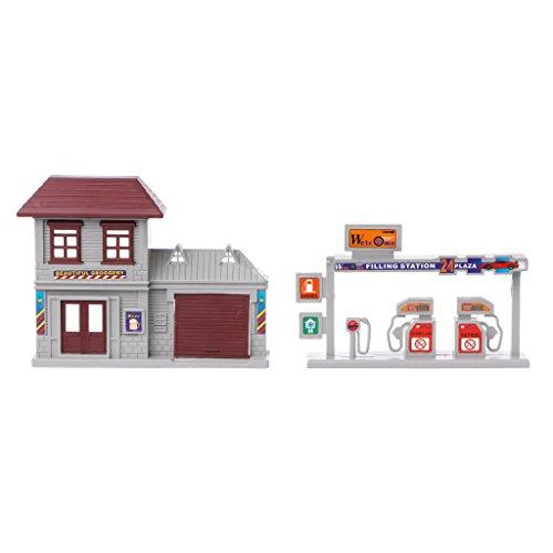 Richi Bus Station house plastic Train Tracks Set scene accessories Pieces Blocks Toys (Gas station)