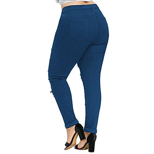 Moda Jeans Estate 2018 Size Brandelliaderenti Blu Pants Donna Tasche Cinque Stretti Pantalone Women A Rosso Pantaloni Elasticizzati Plus wqSBWXS