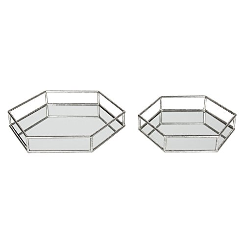 Decorative Metal Accents - Kate and Laurel Felicia Nesting Metal Mirrored Decorative Accent Trays, Silver