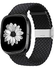 Zoholl Compatibel met Fitbit Sense/Fitbit Versa 3 riem, elastisch, ademend, zacht, nylon, kinitting sportband, reserveband voor Versa 3, smartwatch voor dames en heren