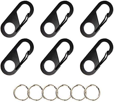 6pcs Mini Silver Circle Round Carabiner Spring Snap Clip Hook Keychain Hiking SR