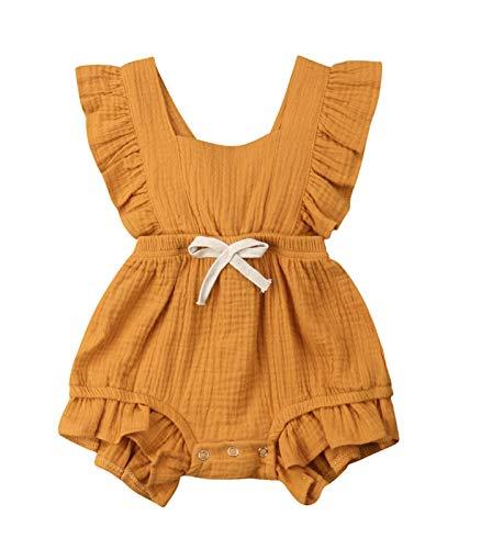 VISGOGO Toddler Baby Girl Ruffled Rompers Sleeveless Cotton Romper Bodysuit Jumpsuit Clothes (12-18 Months, Orange)]()