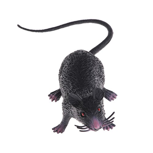 Jesse Mouse Model Joke Toy, 224.2cm/8.66inch1.65inch, Mini Fake Lifelike Plastic with Animal Doll Hand Toy Gift for Christmas Halloween Gift Toy Party Decor, Black