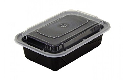 Pactiv NC838B Black Base Oblong Contaner with Clear Dome Lid, 24 oz - 150 per case