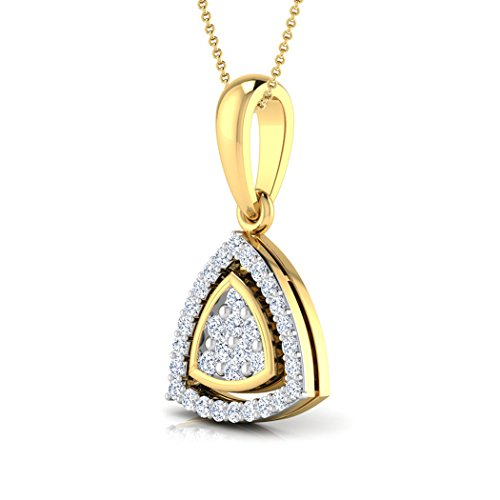 14 K Or blanc 0,13 CT TW Round-cut-diamond (IJ | SI) Pendentif