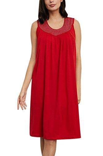 YACUN Damen Tunika Panzer T-Shirt Kleid Lässig Lockere Strand Sommerkleid Rot bZcmRTf