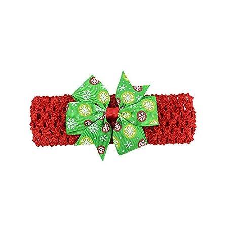 Longsing Fasce di Natale Fasce del Bambino di Natale Set Fascia per Capelli Bowknot per Bambina per Regalo di Natale
