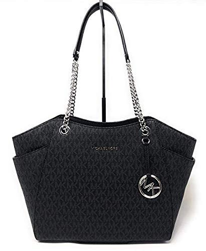 Black Logo Tote - Michael Kors Women's Jet Set Travel Large Chain Shoulder Bag No Size (Black/Black)