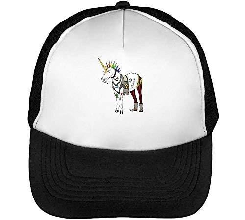 Punk Unicorn Gorras Hombre Snapback Beisbol Negro Blanco