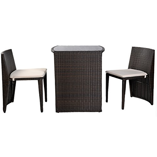 Goplus 3 PCS Cushioned Outdoor Wicker Patio Set Seat Brown Garden Lawn Sofa Furniture New