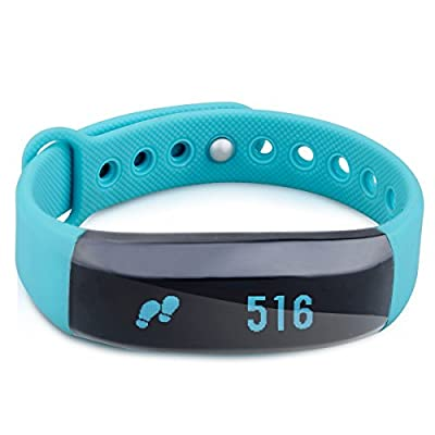 Cubot V2 Bluetooth Smart Bracelet Smart Watch Bracelet Wristband Fitness Tracker with Pedometer Step Counter Calorie Sleep Monitor Call/SMS Reminder Remote Photograph for Android IOS, Blue