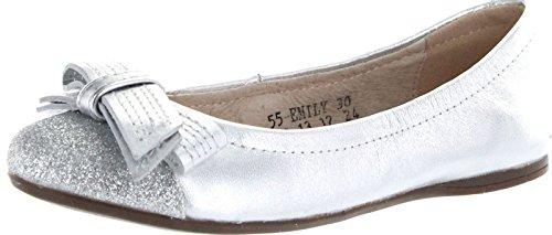 Venettini Girls Emily Dress Flats Glitter Toe Shoes,Silver L