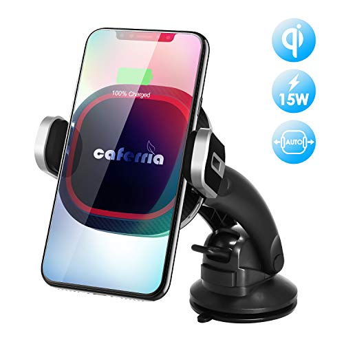 Caferria Wireless Car Charger Mount 15W Fast Charging Qi Car Charger with Infrared Auto Clamping Windshield Dashboard Air Vent Phone Holder for iPhone X XR Xs Max 8 Plus Samsung Note 9 S9 S9+ S8+ Edge