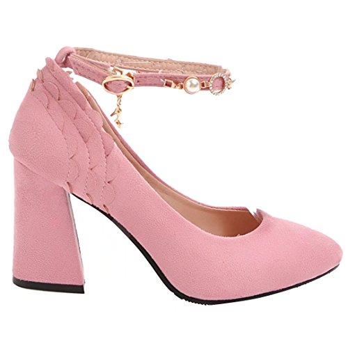 AIYOUMEI Damen Blockabsatz Pumps mit Knöchelriemchen High Heels Damen Schuhe Elegant High Shoes Rosa
