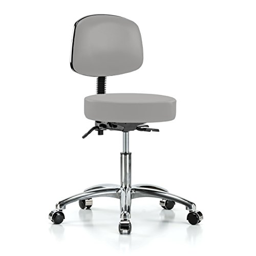 PERCH Chrome Walter Rolling Height Adjustable Doctor's Stool with Back for Carpet or Linoleum | Desk Height | 300-Pound Weight Capacity | 12 Year Warranty (Gray Vinyl) -