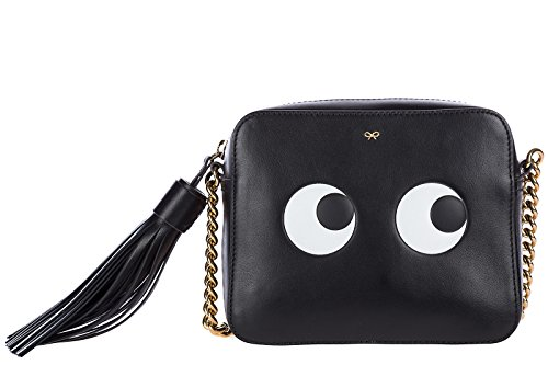 Anya Hindmarch women's leather cross-body messenger shoulder bag eyes black