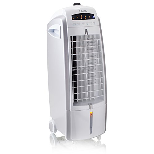 Quilo Refresh 3in1 Quiet Energy Efficient Portable Tower Fan with Evaporative Cooler & Humidifier, QE1SWS (White/Silver)