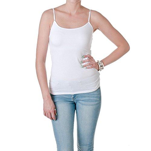 Active Basic Womens Shelf Bra Adjustable Spaghetti Strap Tank, Classic White, Medium