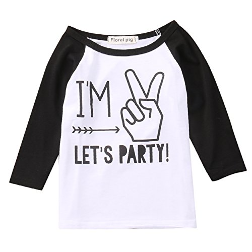 Toddler Boys Girls Birthday Party Outfit Kids Long Sleeve Funny T shirt Top 1-4 years (2 years, black&white)