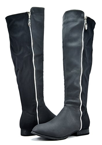 DREAM PAIRS STRETCH-2 Women's Edgy Side Zipper Stretchy Back Front Leatherette Knee High Boots, Stretch-black, 8 B(M) US