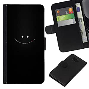 NEECELL GIFT forCITY // Billetera de cuero Caso Cubierta de protección Carcasa / Leather Wallet Case for Samsung ALPHA G850 // Cara sonriente