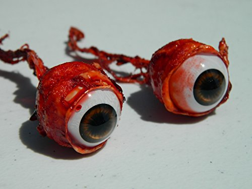 Pair of Realistic Life size Bloody Ripped Out Eyeballs - Halloween props - FB01