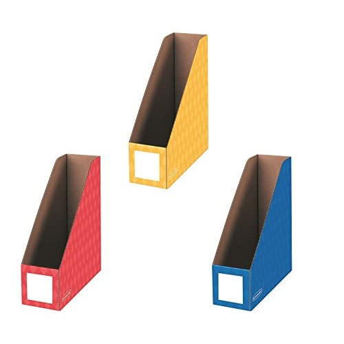 Bankers Box Classroom Magazine File Organizers, 4-Inch, Red Blue and Yellow, 3 Pack (3381701) supplier