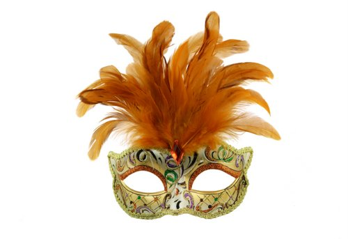 Intricately Detailed Pattern Swan Venetian Design Laser Cut Masquerade Mask, Attached w/ Vibrant Orange Colored Feathers -