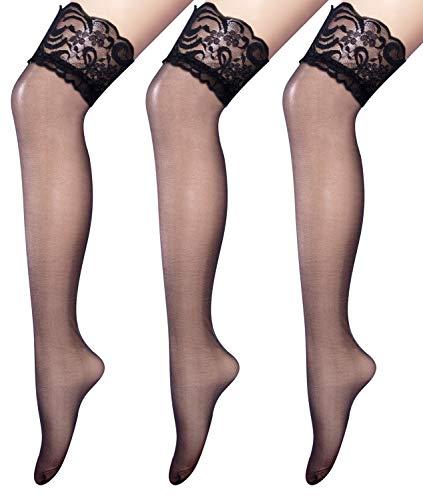 Amandir 3 Pairs Womens Thigh High Stockings Fishnet Lace Sheer Thigh High Pantyhose Tights Stay Up Socks
