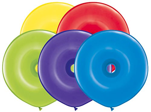 16'' Geo Donut New Radiant Assortment Latex Balloons - Pack of 5s - Bag of 50