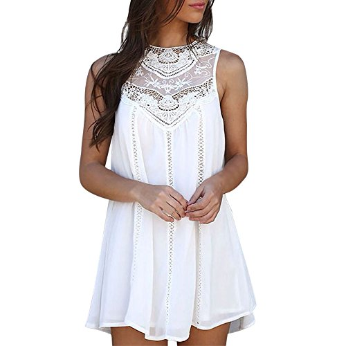 Mini Dress Women Casual Solid Lace Stitching O-Neck Sleeveless Chiffon White ()
