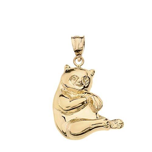 Solid 14k Yellow Gold Panda Bear Charm Pendant