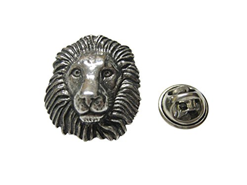 Pin Head Lion (Silver Toned Textured Lion Head Lapel Pin)